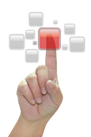 Hand pressing a red button Stock Photo