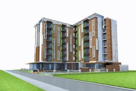 Proposal of perspective building, 3d rendering
