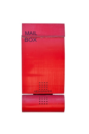 Red mailbox isolated on white background photo