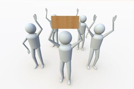 marioneta de madera: Humanos 3d con etiqueta en blanco para el texto y el símbolo Foto de archivo