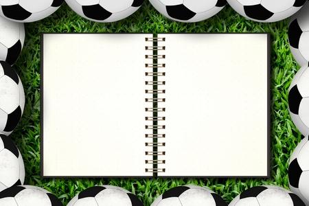 Notebook in soccer framing photo
