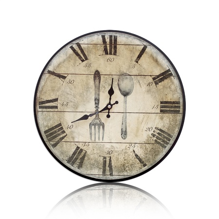 antiquarian: Old Clock on white background