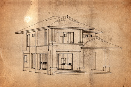 Background old paper with pattern of house photo