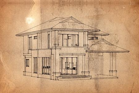 perspectiva lineal: Fondo antiguo de papel con el patrón de la casa Foto de archivo