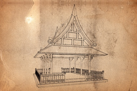 Background old paper with pattern of thai architecture photo