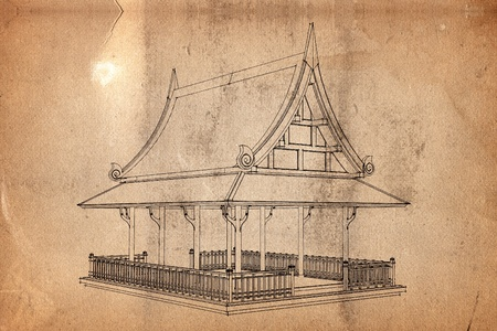 Background old paper with pattern of thai architecture
