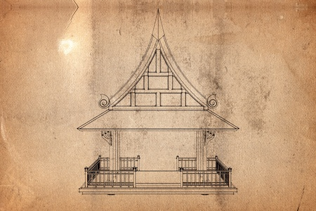 perspectiva lineal: Fondo antiguo de papel con el patrón de la arquitectura tailandesa Foto de archivo