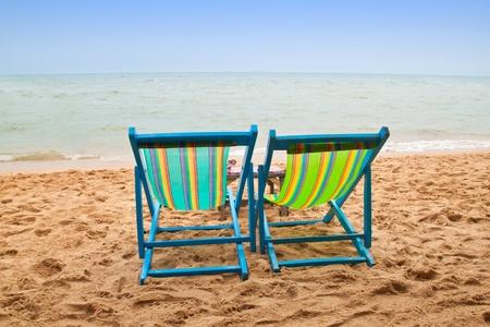Canvas Chair on tropical beach of thailand Stock Photo