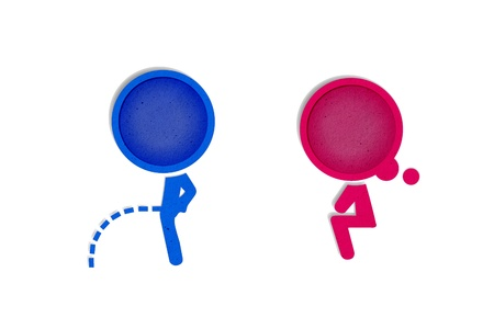 genders: Toilet symbol, Paper craft from recycled paper