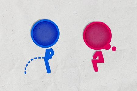Toilet symbool, papier ambacht van gerecycled papier
