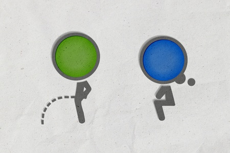 women and men: Toilet symbol, Paper craft from recycled paper