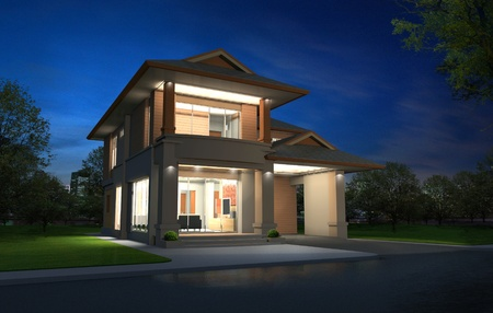 exterior walls: 3d rendering, Exclusive two floor tropical modern house in night Stock Photo