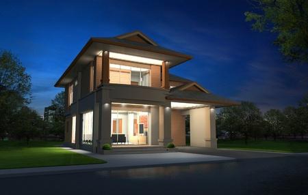 paredes exteriores: Representaci�n 3D, exclusivo de dos plantas tropicales casa moderna en la noche