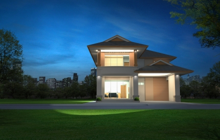 architectural exterior: 3d rendering, Exclusive two floor tropical modern house in night Stock Photo