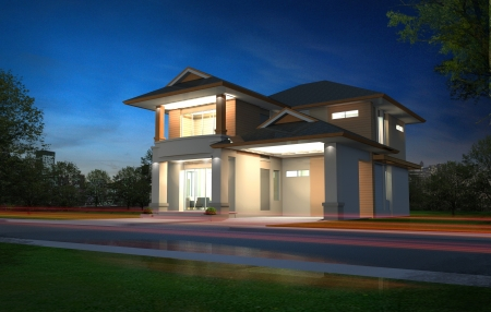 house render: 3d rendering, Exclusive two floor tropical modern house in night Stock Photo