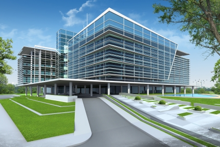 glass building: 3D render of building Stock Photo