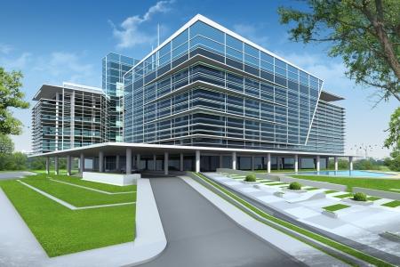 bioedilizia: 3D rendering di edificio Archivio Fotografico