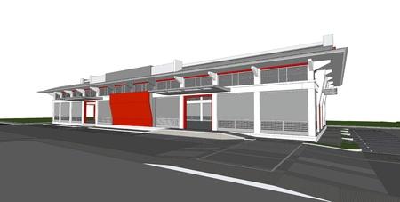 3d rendering of building Reklamní fotografie - 14204626