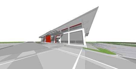 comtemporary: 3d rendering of building Stock Photo