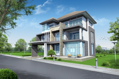 house render: 3d rendering, Exclusive three floor tropical modern house
