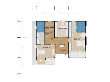 dressing room: Third floor Plan, Planning of house Stock Photo