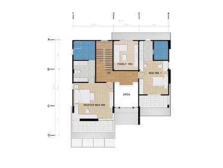 closet door: Second floor, Planning of house Stock Photo