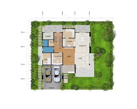 Planning house with green area Stock Photo