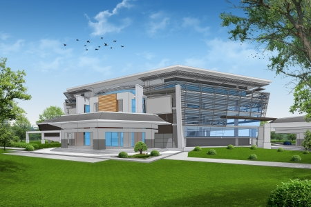 architectural rendering: 3D render of building Stock Photo