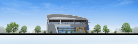 comtemporary: Elevation of building, 3d rendering Stock Photo