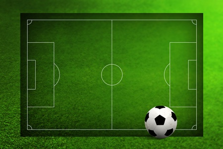 Soccer ball and soccer field photo