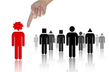 cohort: Choosing the red person from a group Stock Photo