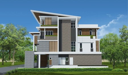 3d rendering, Exclusive tropical modern house photo