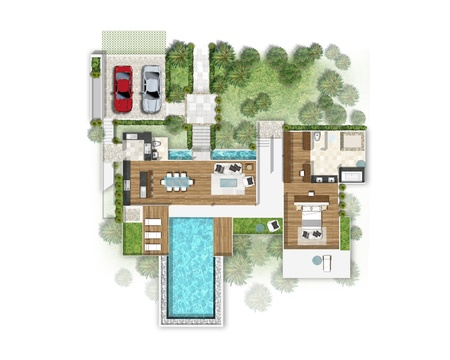 Planning of house with green area photo
