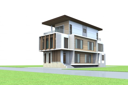 3D Render of modern house photo