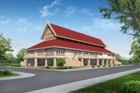 3d temple: 3D render of building Stock Photo