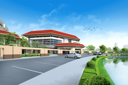 architectural studies: 3D render of building Stock Photo