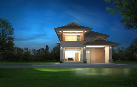 3d rendering in night, Exclusive two floor tropical modern house on the nature photo