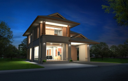 architectural rendering: 3d rendering in night, Exclusive two floor tropical modern house on the nature