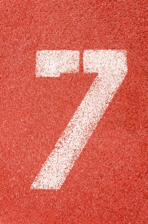 Numbers on red running track