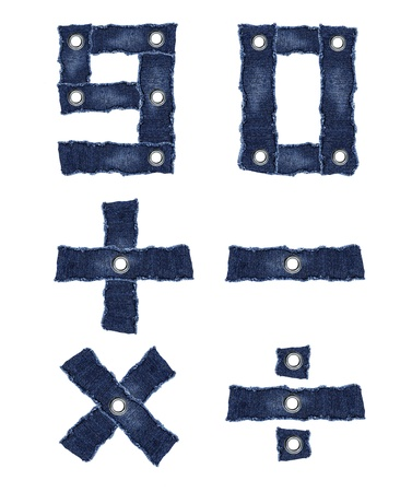 9, 0 and symbol from jeans fabric