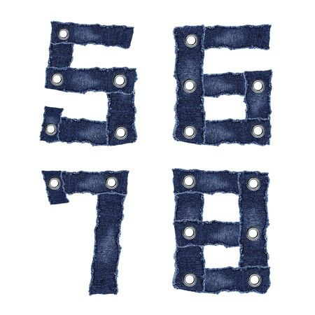 5, 6, 7, 8, - Numbers from jeans fabric