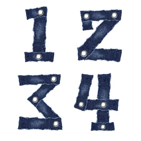 1, 2, 3, 4, - Numbers from jeans fabric photo