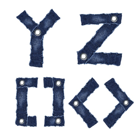 Y, Z and symbol from jeans fabric Фото со стока