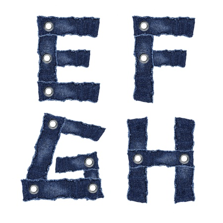 E, F, G, H, - Alphabet from jeans fabric