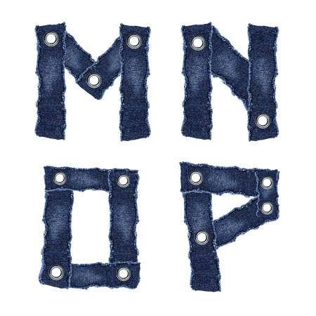 M, N, O, P, - Alphabet from jeans fabric photo