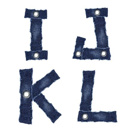 I, J, K, L, - Alphabet from jeans fabric Фото со стока
