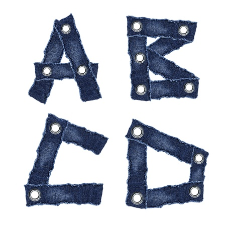 A, B, C, D, - Alphabet from jeans fabric Фото со стока