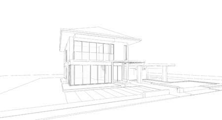 facade and house: Wireframe of house Stock Photo