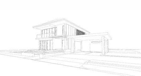 Wireframe of house Фото со стока