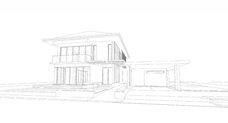 Wireframe of house Фото со стока